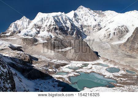 Beautiful panoramic view of Mount Cho Oyu and Cho Oyu base camp Gyazumba glacier - Sagarmatha national park Khumbu valley Nepal
