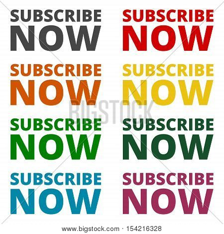 Simple Vector Subscribe now sign on white background