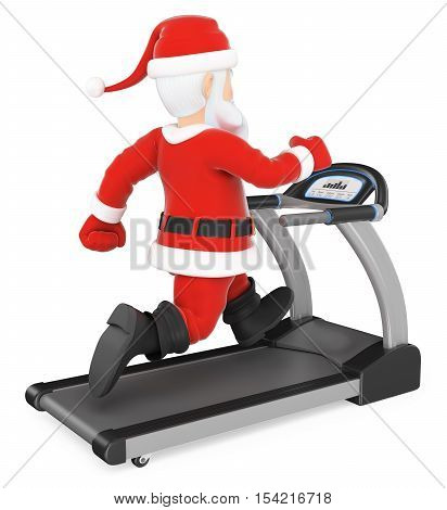 3d christmas people illustration. Santa Claus training hard on a treadmill. Isolated white background.