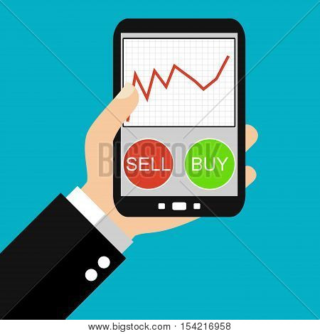 Hand holding Smartphone: Buy or sell stocks - Flat Design