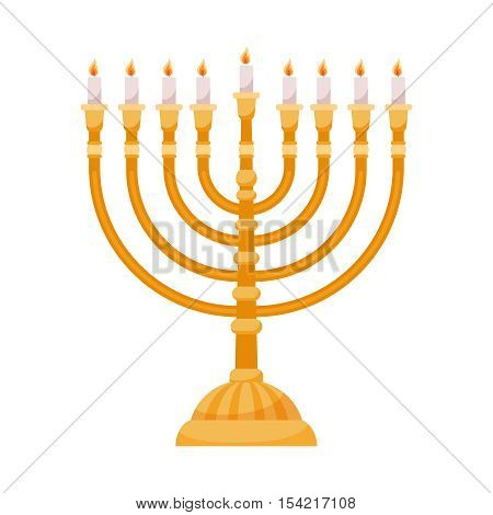 Hanukkah menorah isolated on white background. Hanuka shabbat candles vector illustration