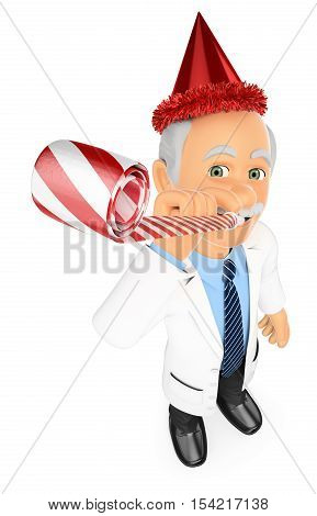 3d medical people illustration. Doctor in a party celebration with blower and hat. Isolated white background.