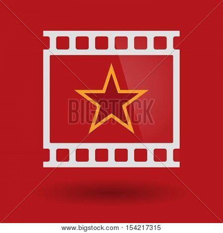 Isolated 35Mm Film Frame Slide Photogram With  The Red Star Of Communism Icon