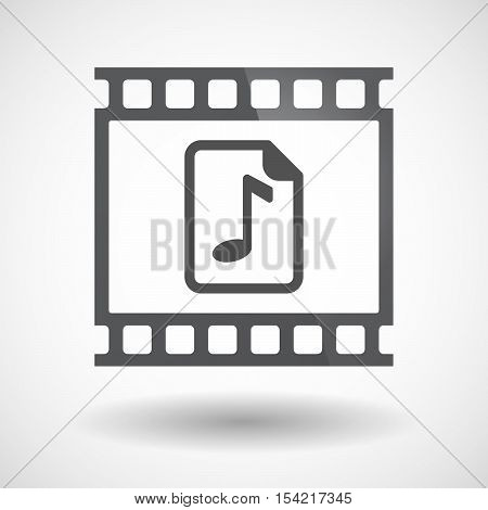 Isolated 35Mm Film Frame Slide Photogram With  A Music Score Icon