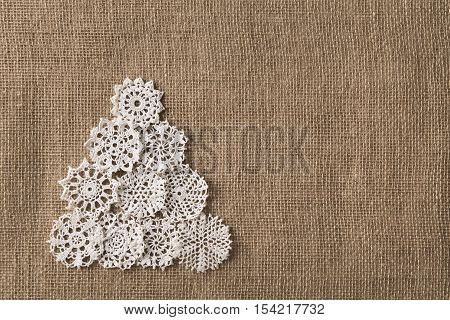 Abstract Christmas Tree Lace Embroid Snowflake On Burlap Background Snow Flake Decoration