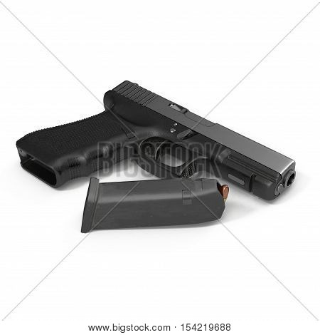 Automatic black pistol with ammo on white background. 3D illustration