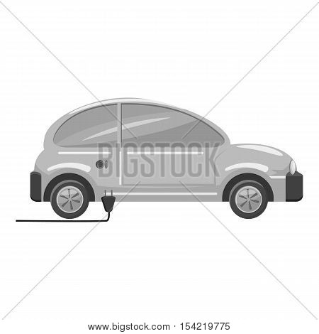 Electro car icon. Gray monochrome illustration of electro car vector icon for web