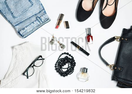 collection of women's clothing isolated white background in black and white colors, romantic style