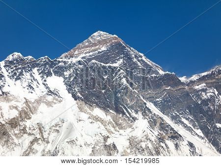 view of mountain top of Mount Everest and Nuptse rock face - Sagarmatha national park - Nepal