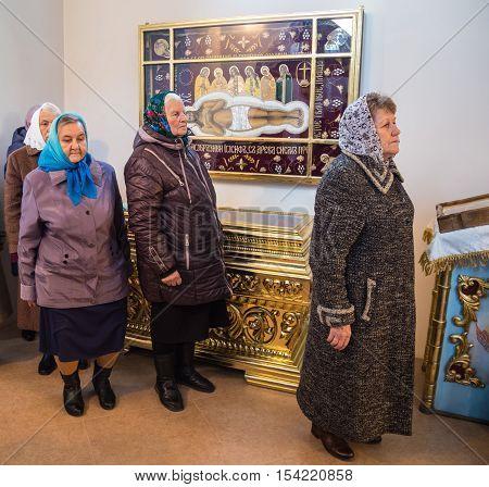 LUTSK UKRAINE - 14 OCTOBER 2016: Ukrainian parishioners of the Orthodox Church during Slavonic Religious celebration Pokrov