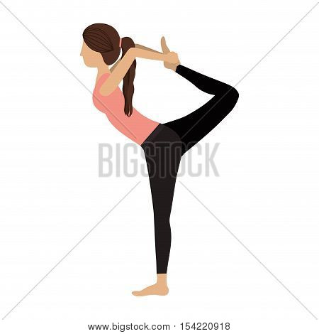 colorful yoga woman lord of the dance pose three vector illustration