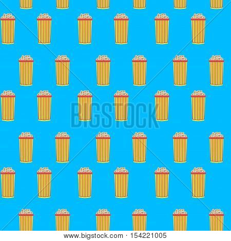 Popcorn cinema seamless pattern. Pop corn box and cinema pop corn. Vector illustration
