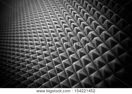 Acoustic Studio Foam Wall Photo Background. Acoustic Foam Closeup.
