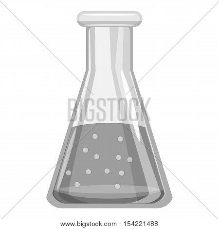 School laboratory flask icon. Gray monochrome illustration of school laboratory flask vector icon for web