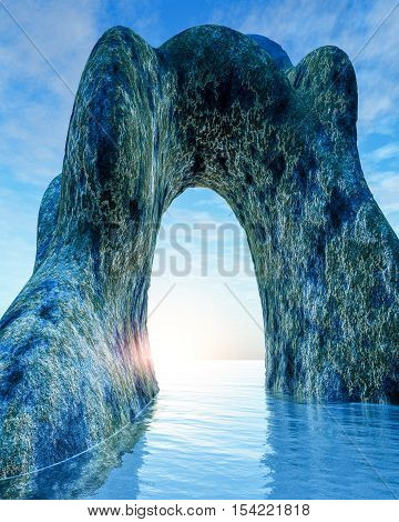An old stone arch in sea 3d illustration.