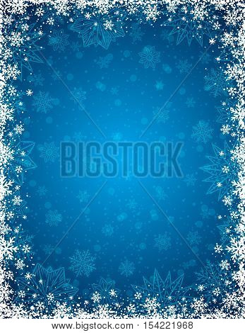 Blue christmas background with frame of snowflakes and stars vector illustration