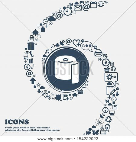 Toilet Paper Icon In The Center. Around The Many Beautiful Symbols Twisted In A Spiral. You Can Use