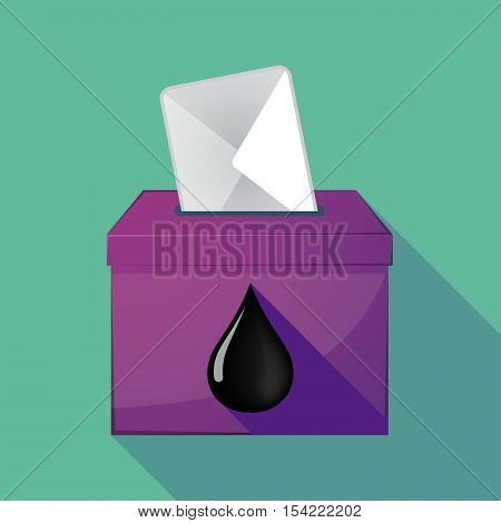 Long Shadow Ballot Box With  An Oil Drop Icon