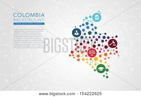 Colombia dotted vector background conceptual infographic report