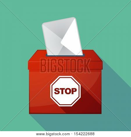 Long Shadow Ballot Box With  A Stop Signal