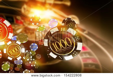 Golden Casino Roulette Chips Blow Concept 3D Render Illustration. Gambling Theme.