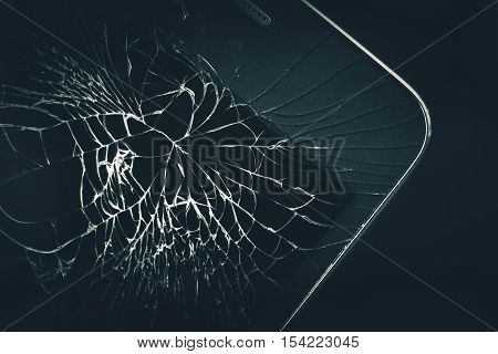 Cellphone Broken Display Closeup Photo. Broken Smartphone Device.