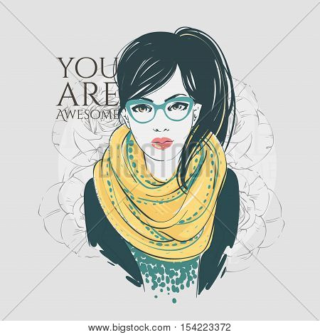 Beautiful Hipster Young Women In A Fashion Jacket With Scarf And Glasses. Vector Hand Drawn Illustra