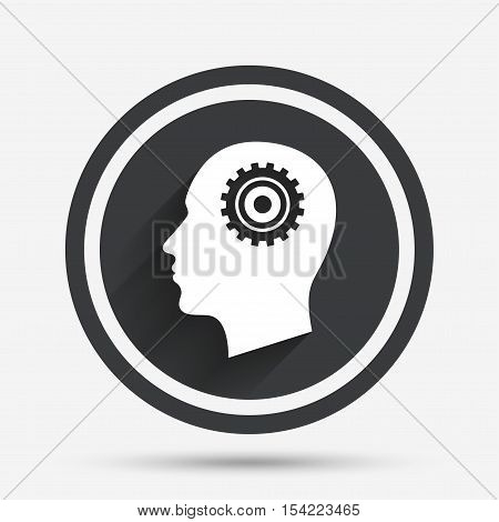 Head with gear sign icon. Male human head symbol. Circle flat button with shadow and border. Vector
