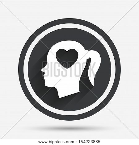 Head with heart sign icon. Female woman human head in love with pigtail symbol. Circle flat button with shadow and border. Vector