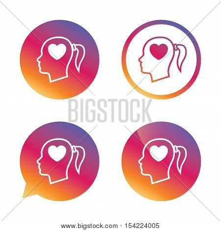 Head with heart sign icon. Female woman human head in love with pigtail symbol. Gradient buttons with flat icon. Speech bubble sign. Vector