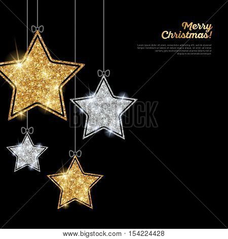 Merry Christmas and Happy New Year Banner. Glitter Background with Silver and Gold Hanging Stars. Vector illustration. Sequins Pattern. Glowing Invitation Template.