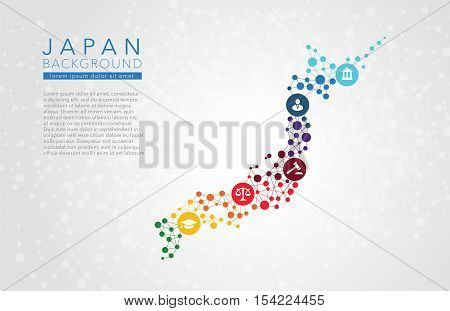Japan dotted vector background conceptual infographic report