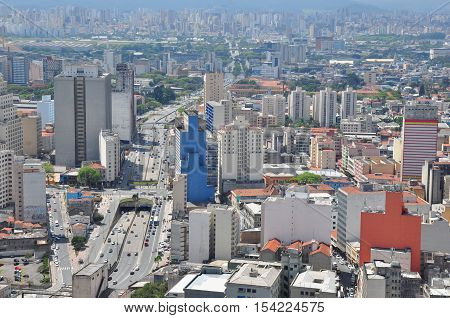 View of Sao Paulo skyline from the Banespa Building Brazil.