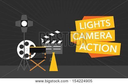 cinema flat template background vector on black