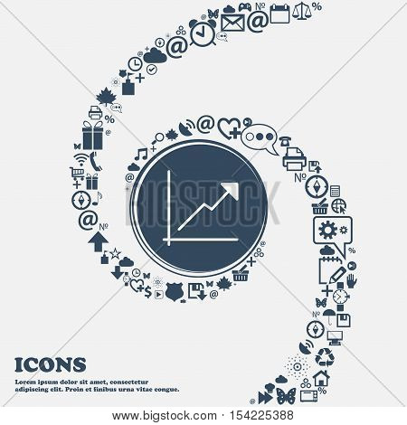 Chart Icon In The Center. Around The Many Beautiful Symbols Twisted In A Spiral. You Can Use Each Se