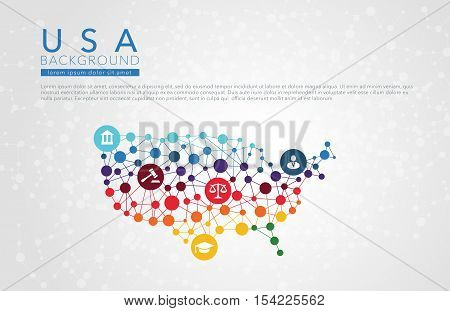 USA dotted vector background conceptual infographic report