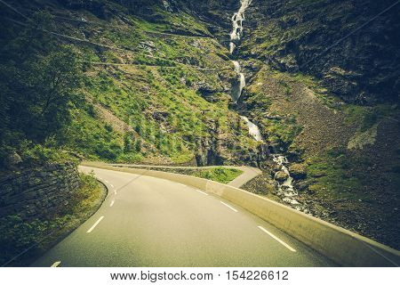 Trollstigen Scenic Norway Mountain Road. Norway Europe.