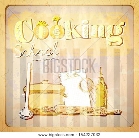 Cooking school hand drawn graphic illustration with utensils, vintage style