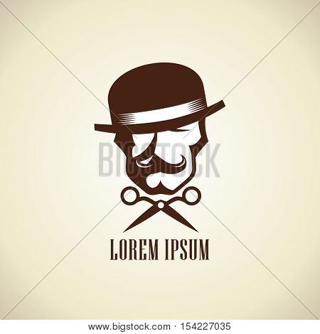Barber logo concept with scissors and hipster man dressed in bowler hat with a mustache