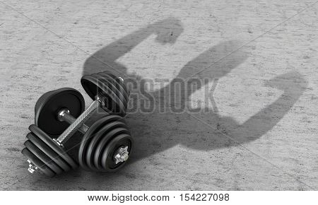 Ferrous metal dumbbell human silhouette casts a shadow on the concrete.3D illustration