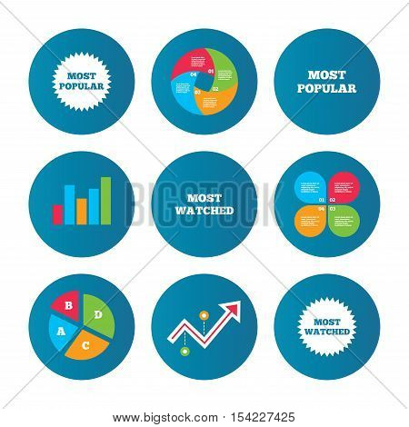 Business pie chart. Growth curve. Presentation buttons. Most popular star icon. Most watched symbols. Clients or users choice signs. Data analysis. Vector