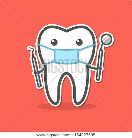 Cartoon doctor tooth in mask with dental probe and mirror. Dental diagnostic and treatment concept. Vector illustration