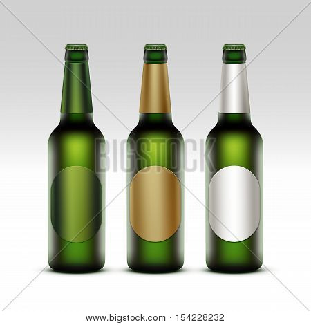 Vector Set of  Closed Blank Glass Transparent Green Bottles of Light Beer with Round White Green Golden labels for Branding Close up Isolated on White Background.