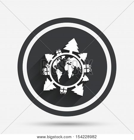 Happy new year earth sign icon. Gifts and trees symbol. Full rotation 360. Circle flat button with shadow and border. Vector