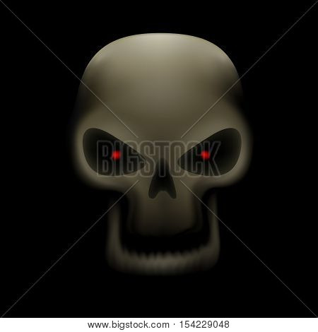 Realistic illustration of human skull with red eyes and no teeth on dark background