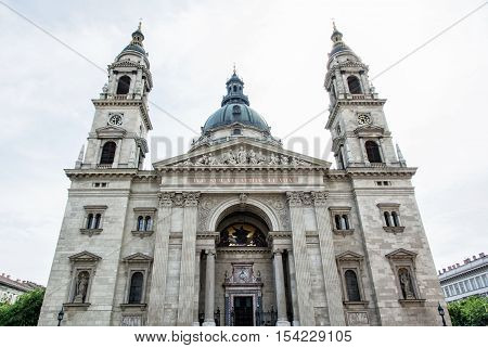 Saint Stephen's basilica is a roman catholic basilica in Budapest Hungary. Architectural theme. Cultural heritage. Religious architecture. Famous place. Travel destination.