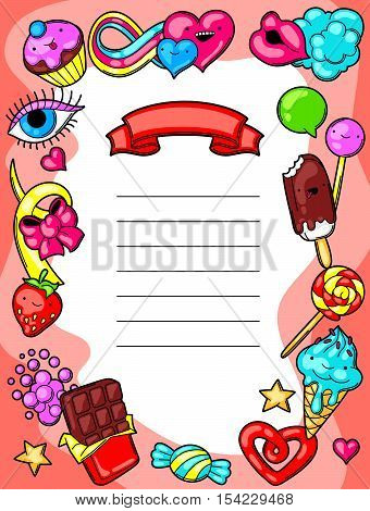 Kawaii diploma with sweets and candies. Crazy sweet-stuff in cartoon style.