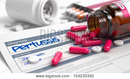 Handwritten Diagnosis Pertussis in the History of the Present Illness. Medicaments Composition of Red Pills, Blister of Pills and Bottle of Tablets. 3D Render.