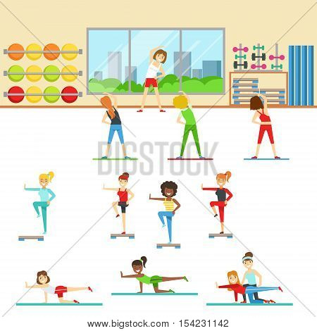 Women In Fitness Club Doing Different Workout Trainings With Instructor. Set of Colorful Primitive Flat Illustrations With Smiling Happy People Working Out Indoors.