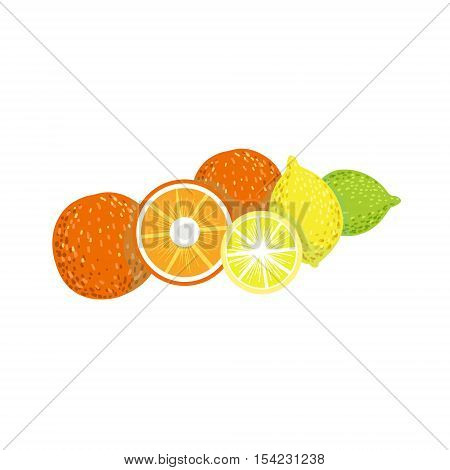 Citrus Product Rich In Folic Acid. Simple Colorful Flat Vector Illustration On White Background.